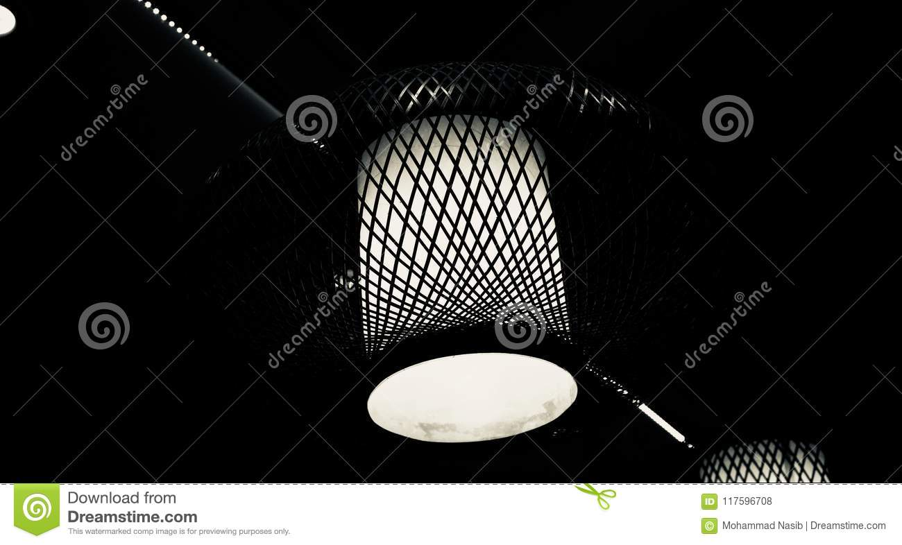 Download Stylish Interior Ceiling Lights Of A Restaurant  Unique Photo Stock Photo - Image of beauty, photo: 117596708