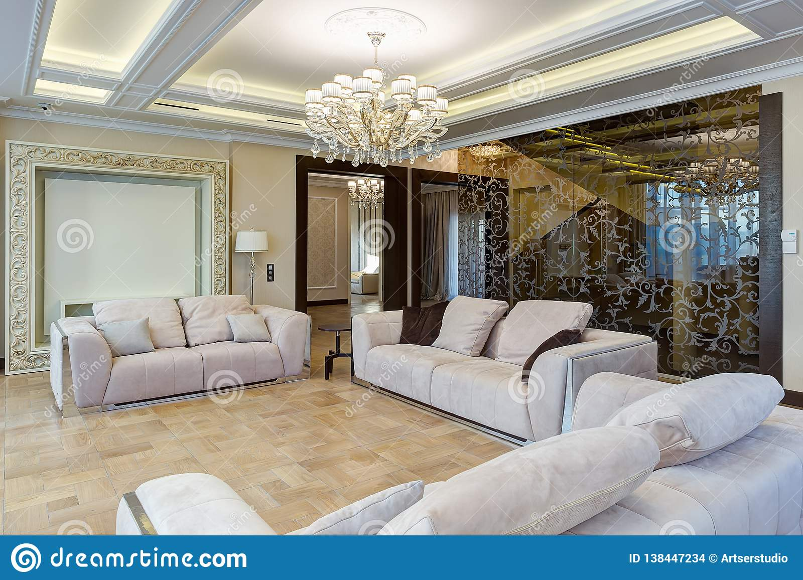 Interior Of Living Room In Beige And Brown Colors Stock