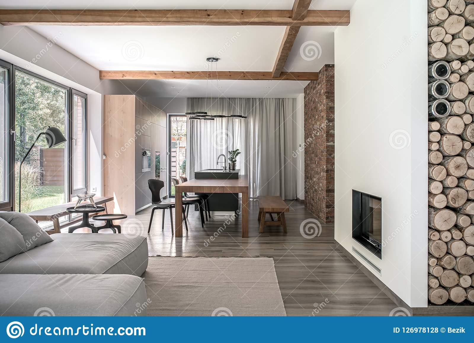 stylish interior in modern style with wooden beams stock photo rh dreamstime com
