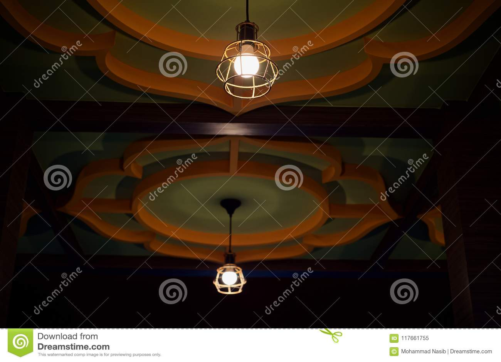 Download Stylish Interior Restaurant Ceiling Lights Unique Photo Stock Image - Image of image, design: 117661755