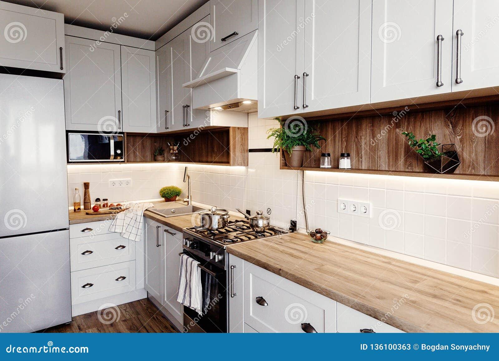 Stylish Kitchen Interior Design. Luxury Modern Kitchen Furniture ...