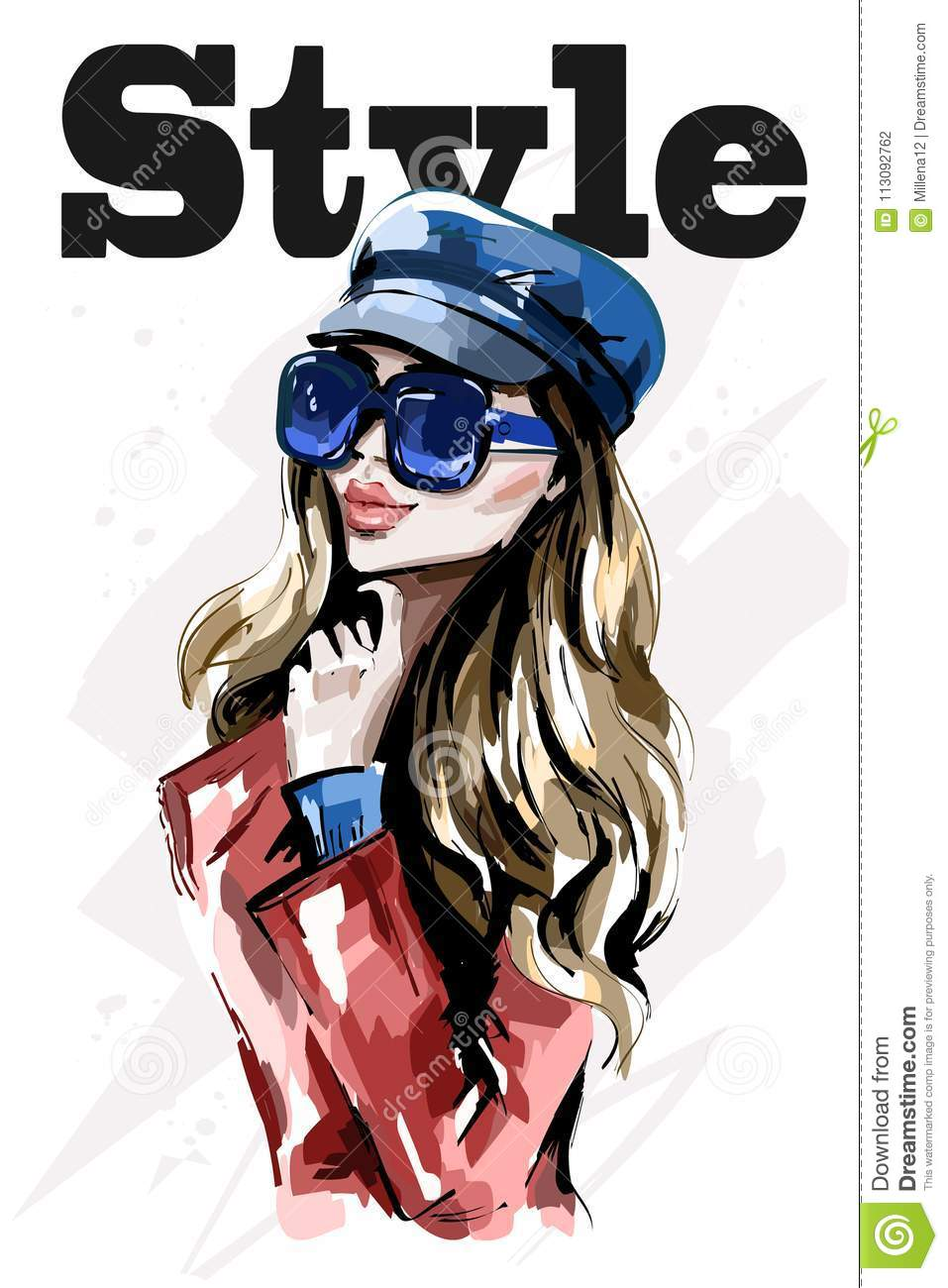 Stylish lady in cap. Hand drawn beautiful young woman in sunglasses. Fashion blond hair woman.