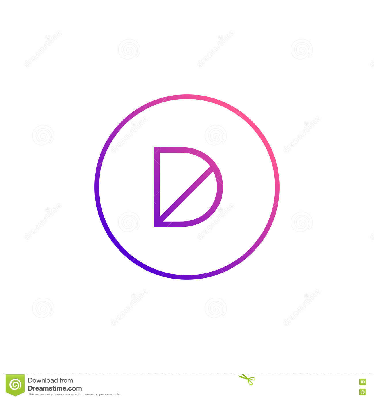 Stylish Letter D Symbol Creative Design Stock Vector Illustration