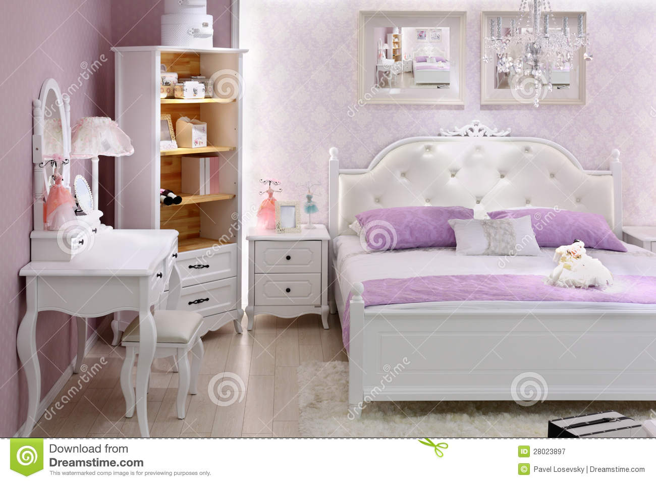 Stylish lilac bedroom with double bed stock image image 28023897 - Camera da letto lilla ...