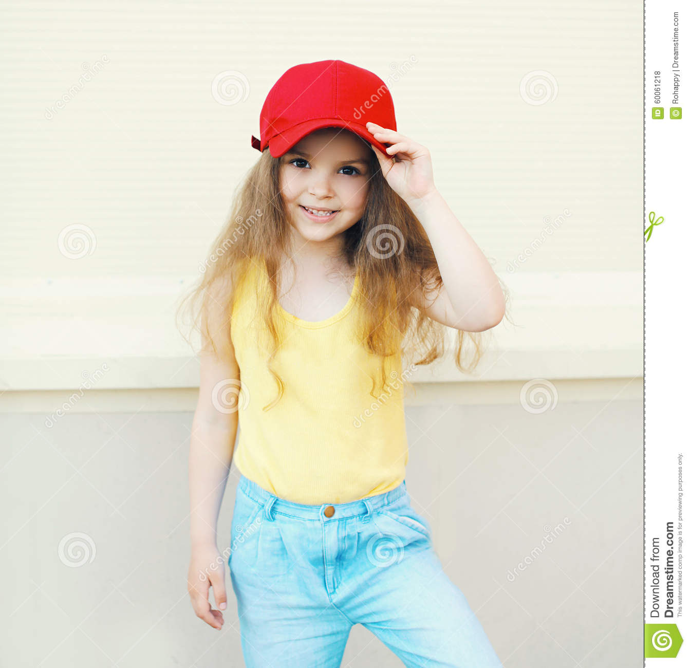 stylish little cute girl child wearing a cap stock photo - image of