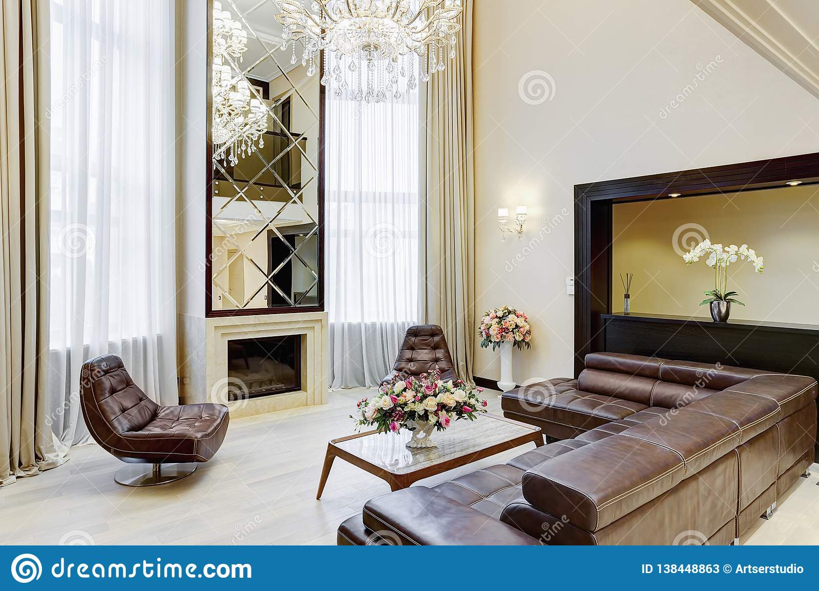 Stylish Living Room With Fireplace And Mirror Over. Stock Image ...