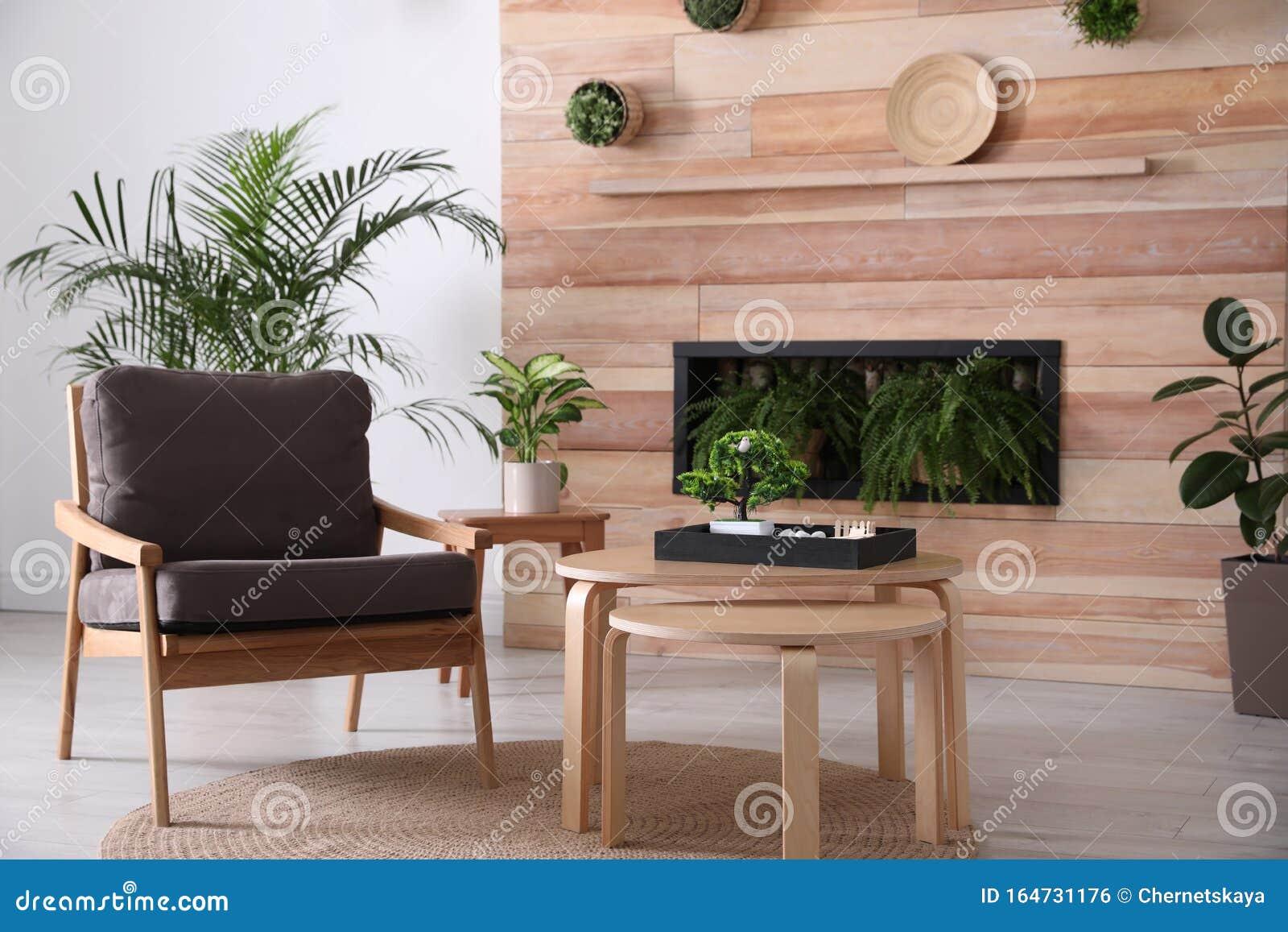 Stylish Living Room Interior With Armchair Green Plants And Miniature Zen Garden Home Design Stock Photo Image Of Idea Condo 164731176