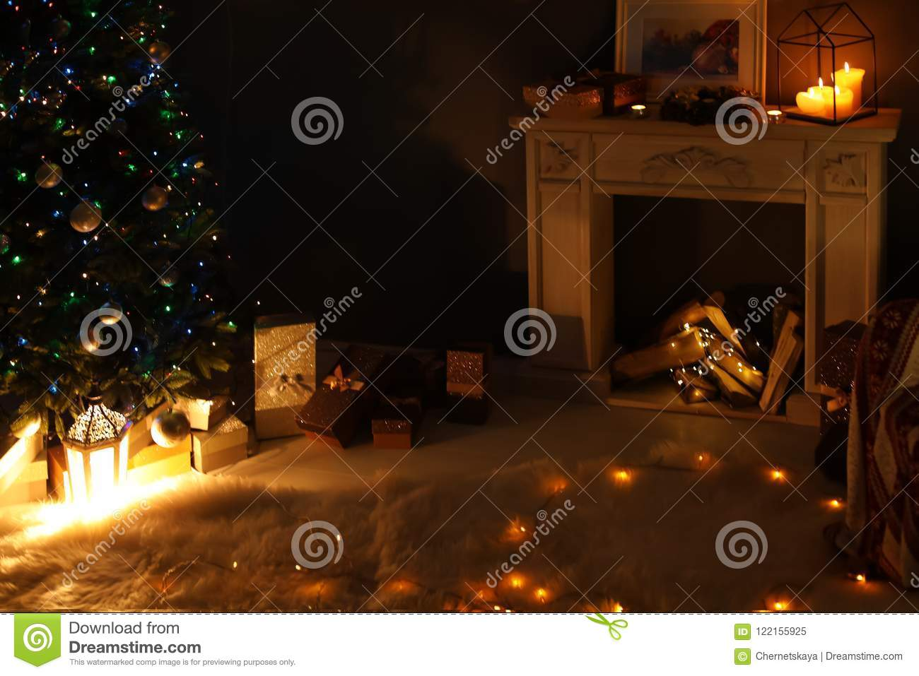 Stylish Living Room Interior With Christmas Lights And Fireplace
