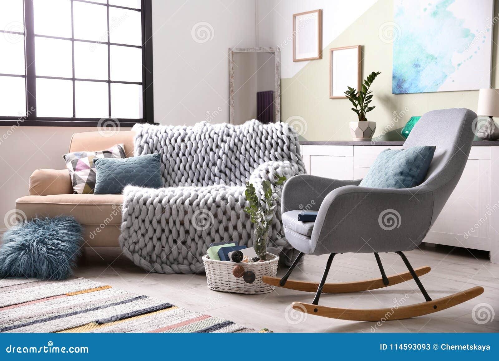 Stylish Living Room Interior With Comfortable Sofa Stock Image