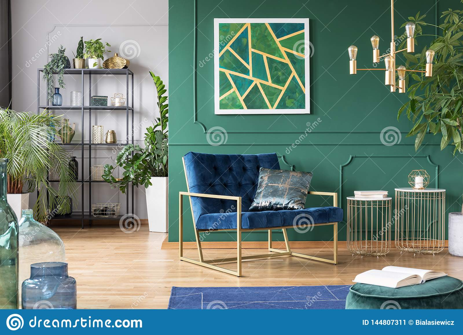 Stylish Living Room Interior Idea With Green Blue And Gold Colors Stock Image Image Of Leaf Flower 144807311