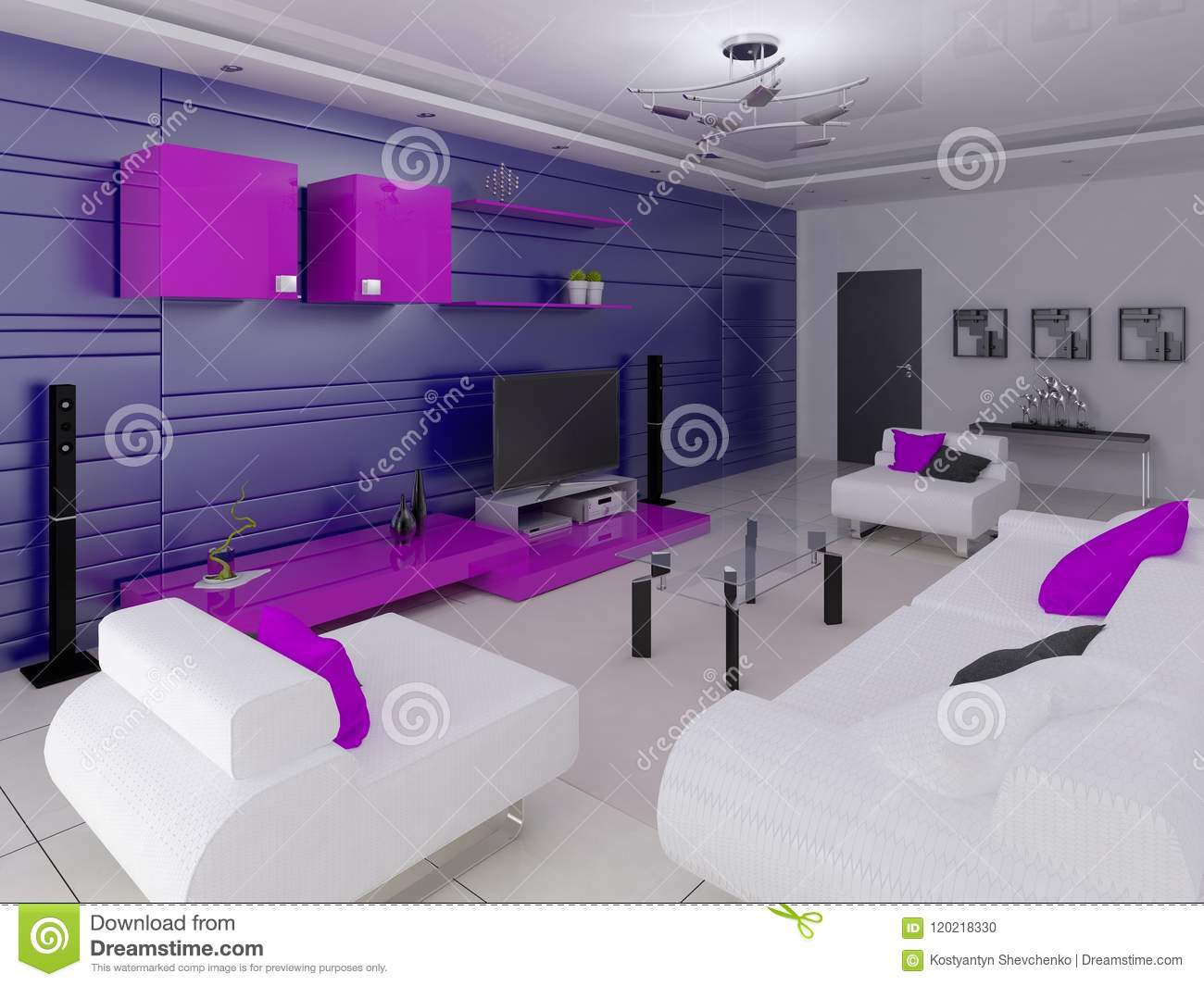 A Stylish Living Room With A Stylish Interior And Modern Functional Furniture Stock Illustration Illustration Of Stage Modern 120218330