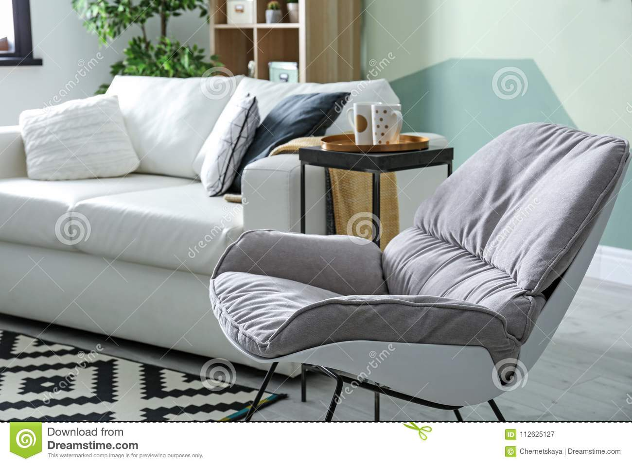 Stylish Living Room Interior With Rocking Chair Stock Image Image