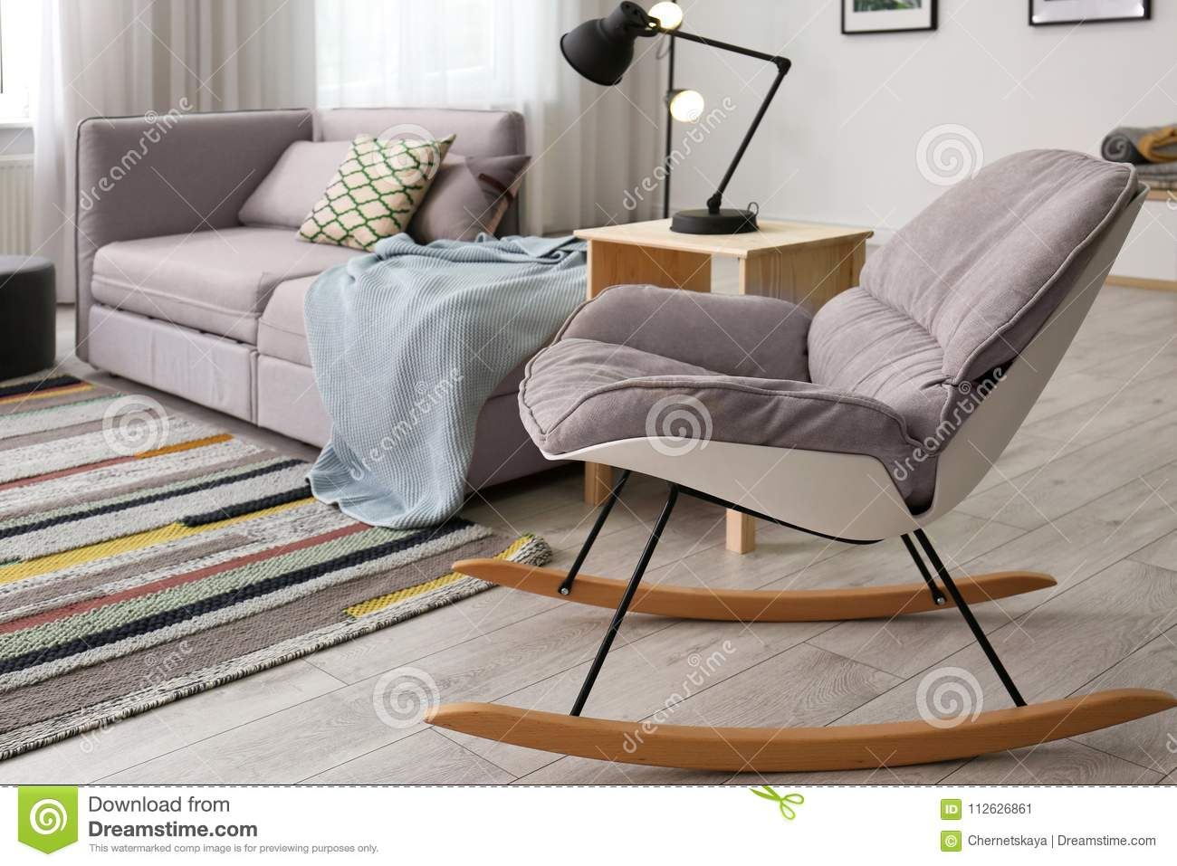 Stylish Living Room Interior With Rocking Chair Stock Image Image Of Leisure Floor 112626861
