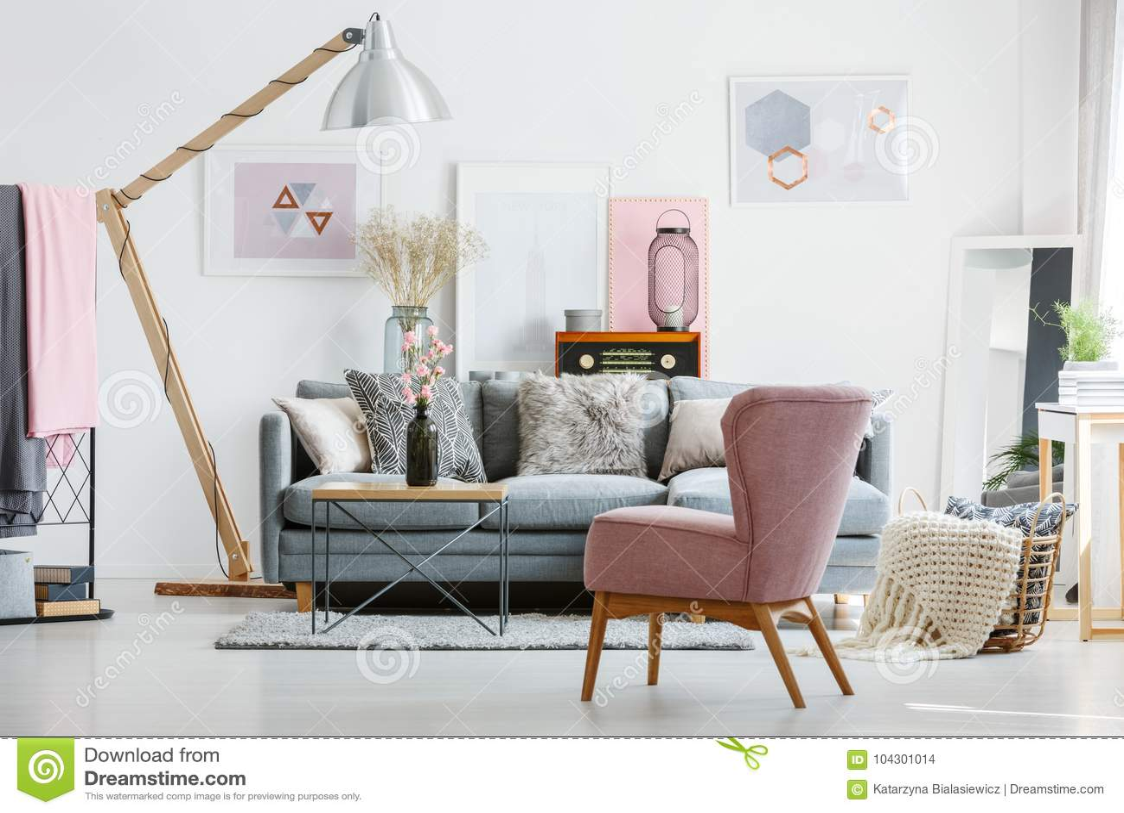 Stylish Living Room With Radio Stock Photo - Image of bright ...