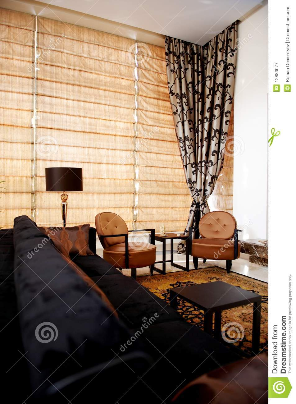 Stylish living room with trendy furniture royalty free for Trendy living room furniture