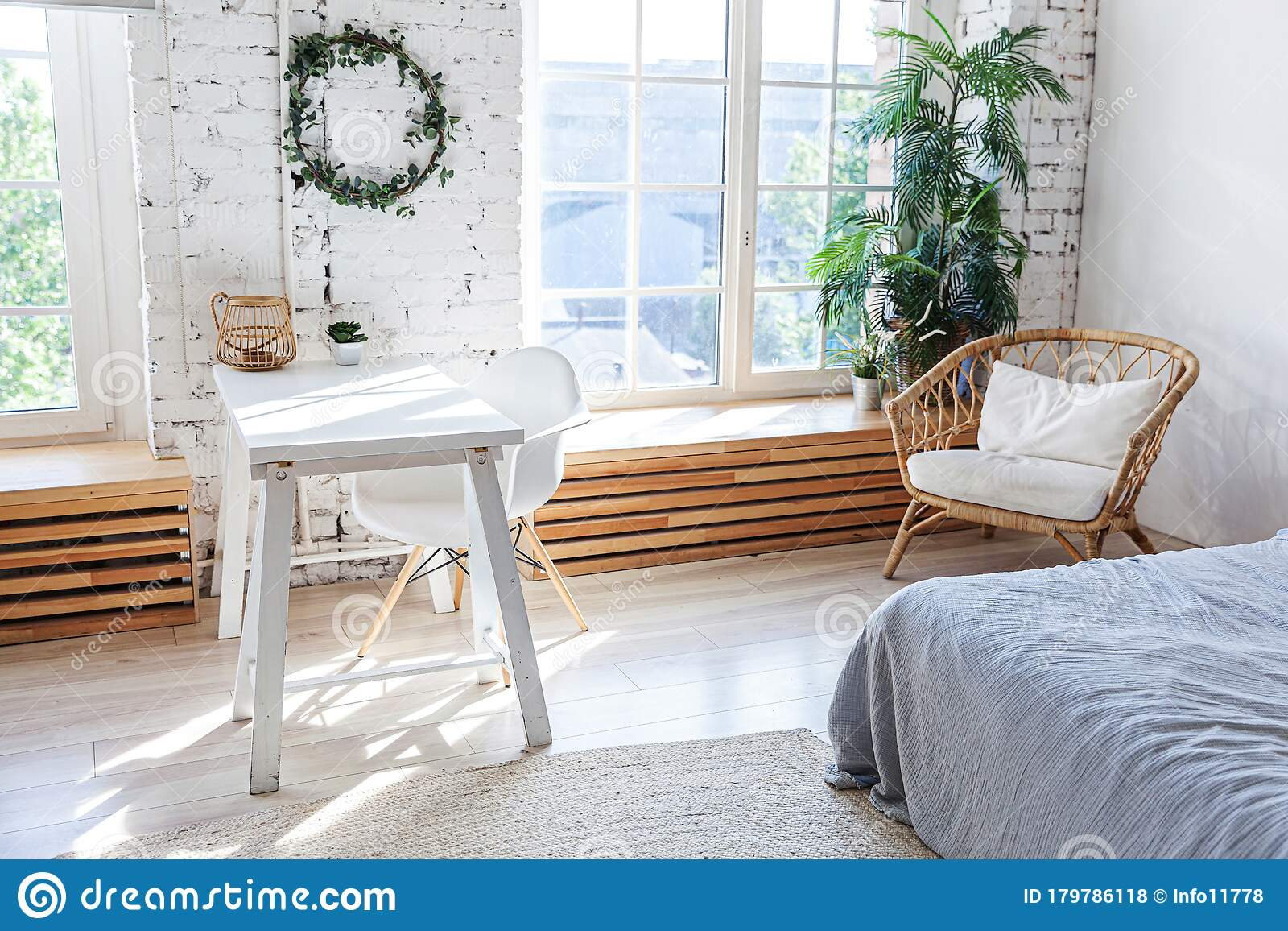 Stylish Loft Modern Home Office Interior Spacious Design Apartment With Light Walls Large Windows And Writing Desk Clean Modern Stock Photo Image Of Expensive Living 179786118