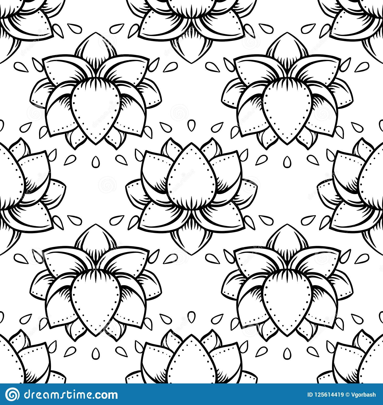Stylish lotus flowers seamless pattern ayurveda symbol of harmo stylish lotus flowers seamless pattern ayurveda symbol of harmony and balance and universe tattoo design yoga logo boho printwrapping paper izmirmasajfo