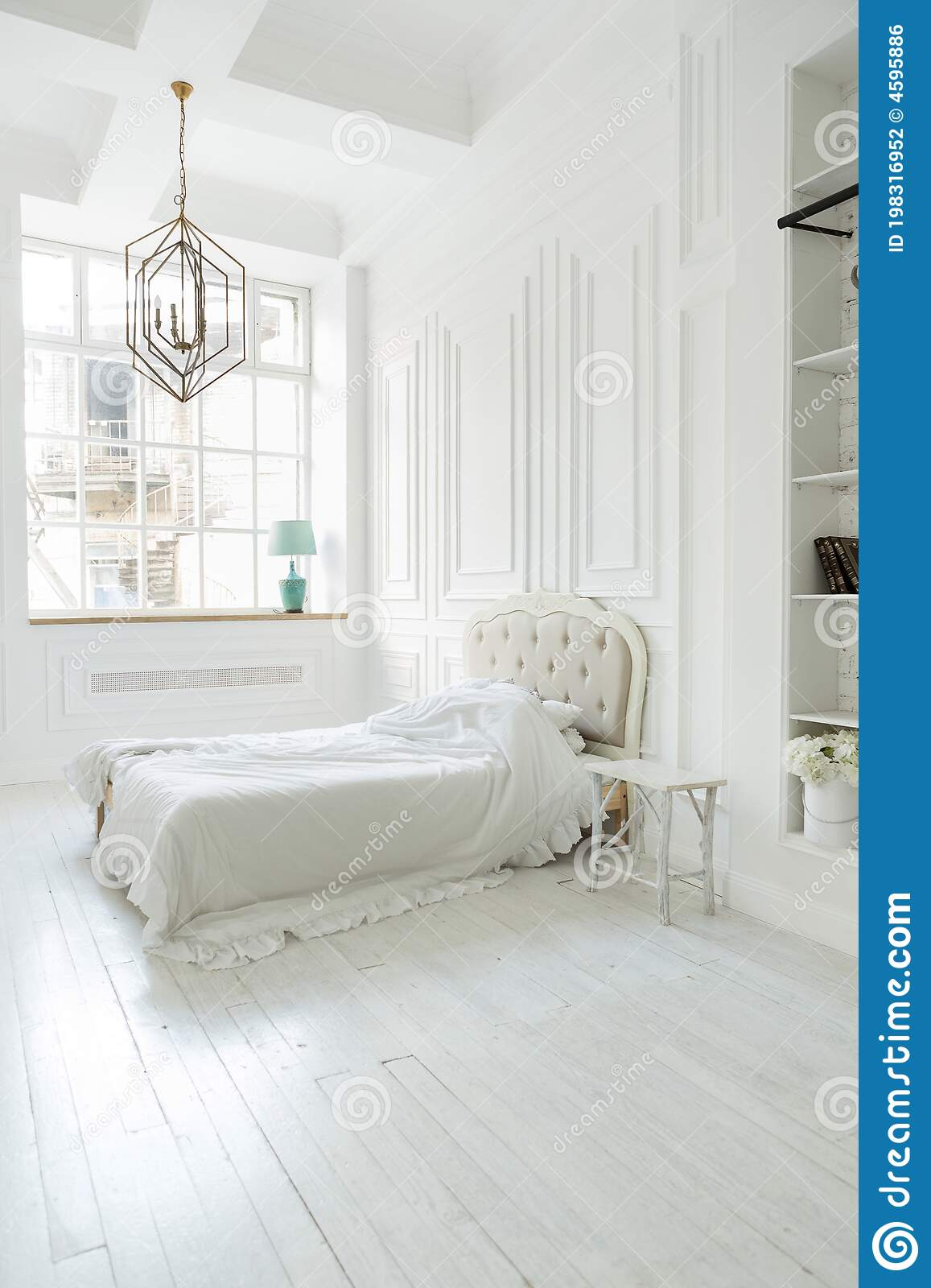Luxury White Bedroom Interior Design In Soft Day Light With Elegant Classic Furniture Stock Photo Image Of Empty Contemporary 198316952