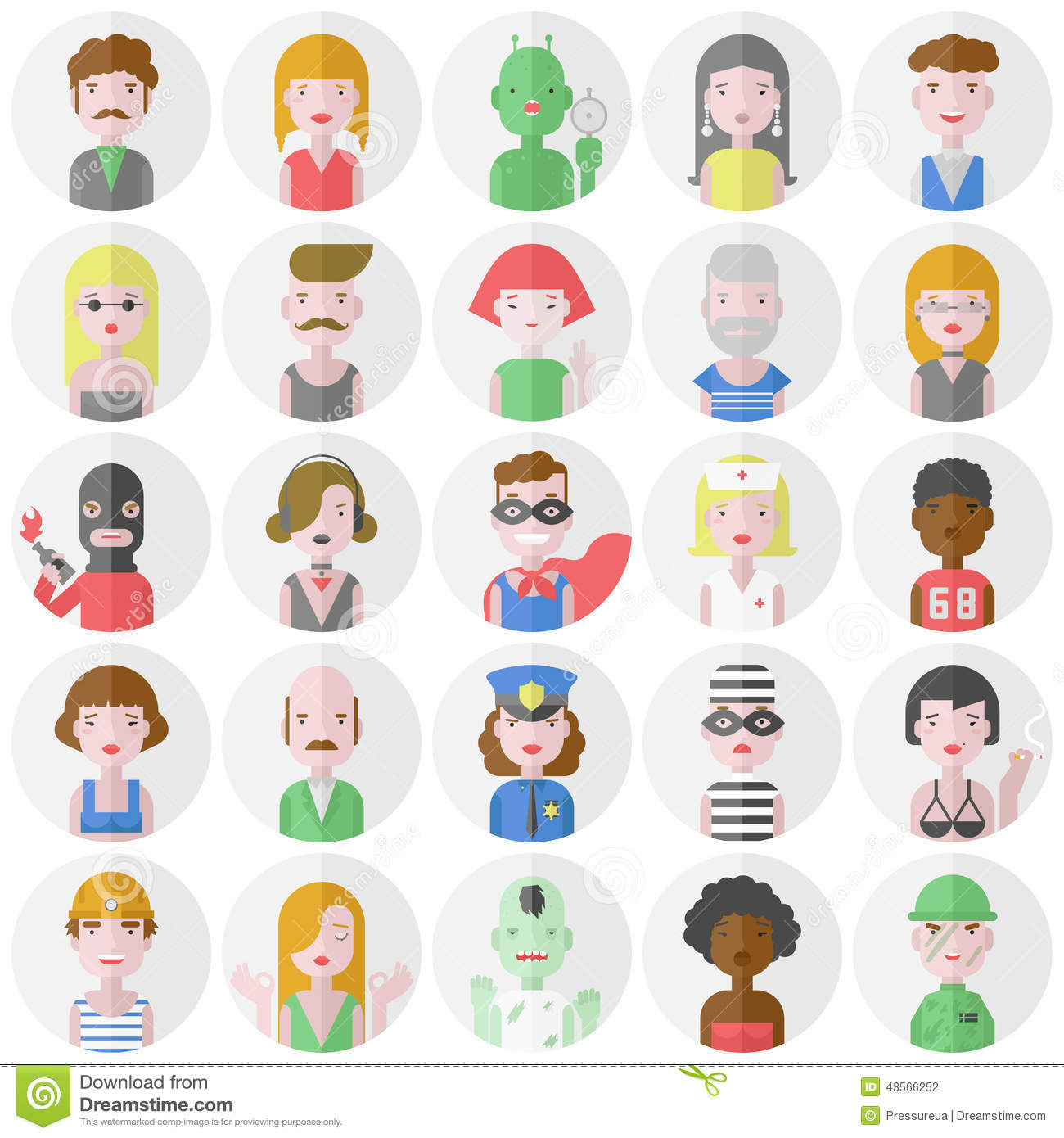 Stylish Male And Female Flat Characters Set Stock Illustration ...