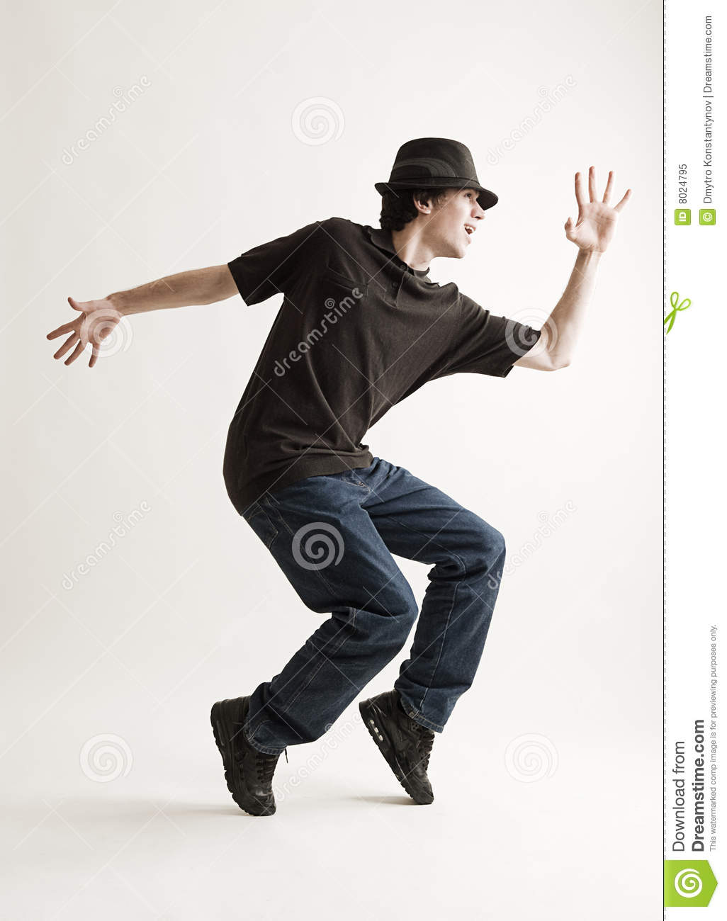 Stylish Man In Hat Dancing Royalty Free Stock Photo ...