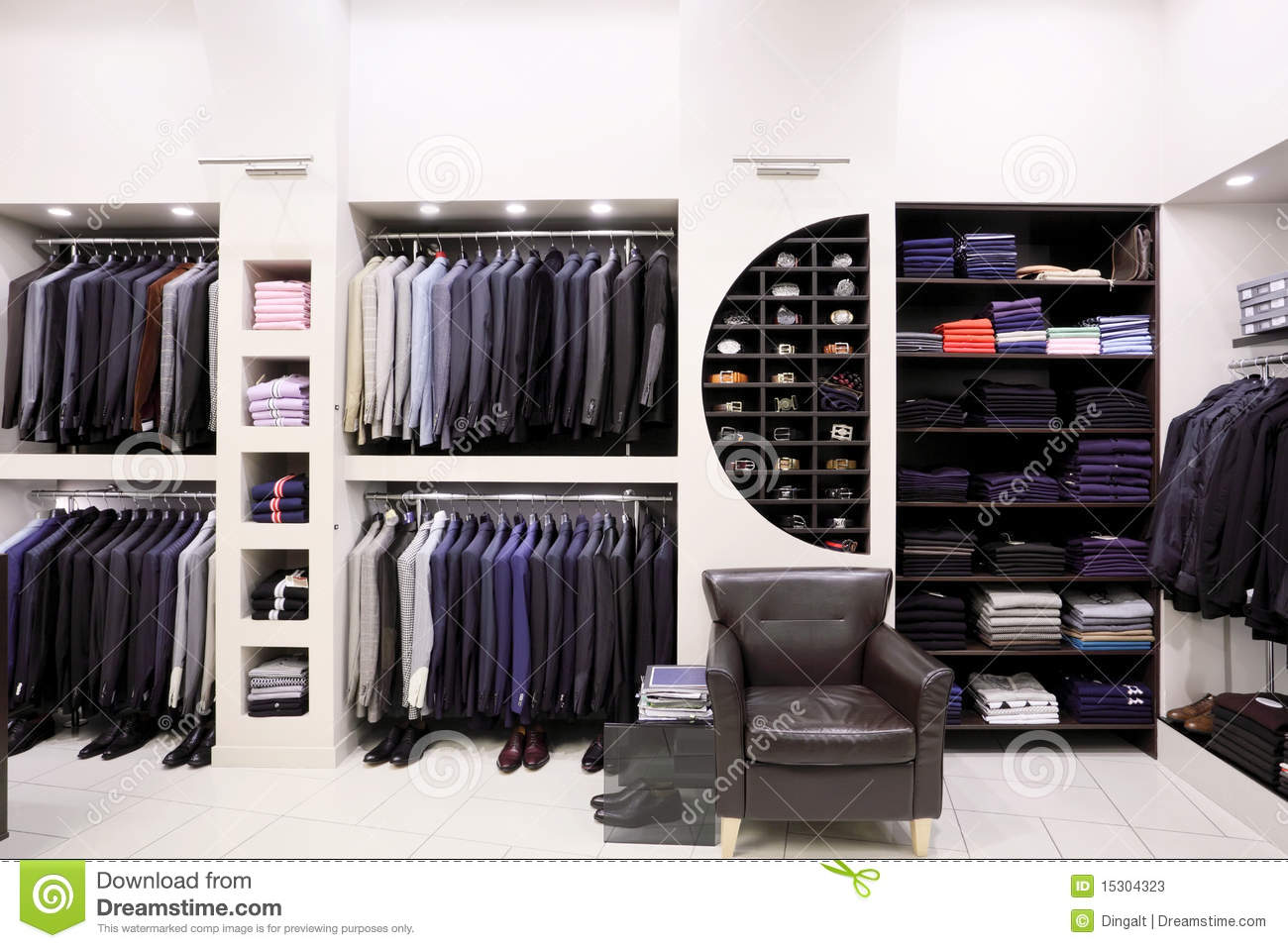 Stylish Men's Clothes In Shop Stock Photos - Image: 15304323