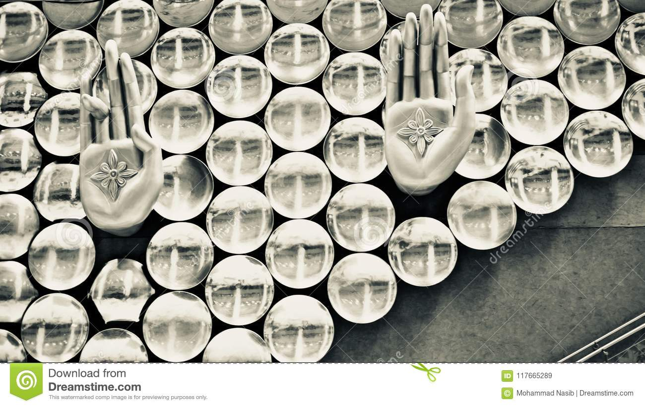 Download Stylish Metallic Hand Sign Of An Interior Decoration Wall Unique Photo Stock Image - Image of decoration, photograph: 117665289