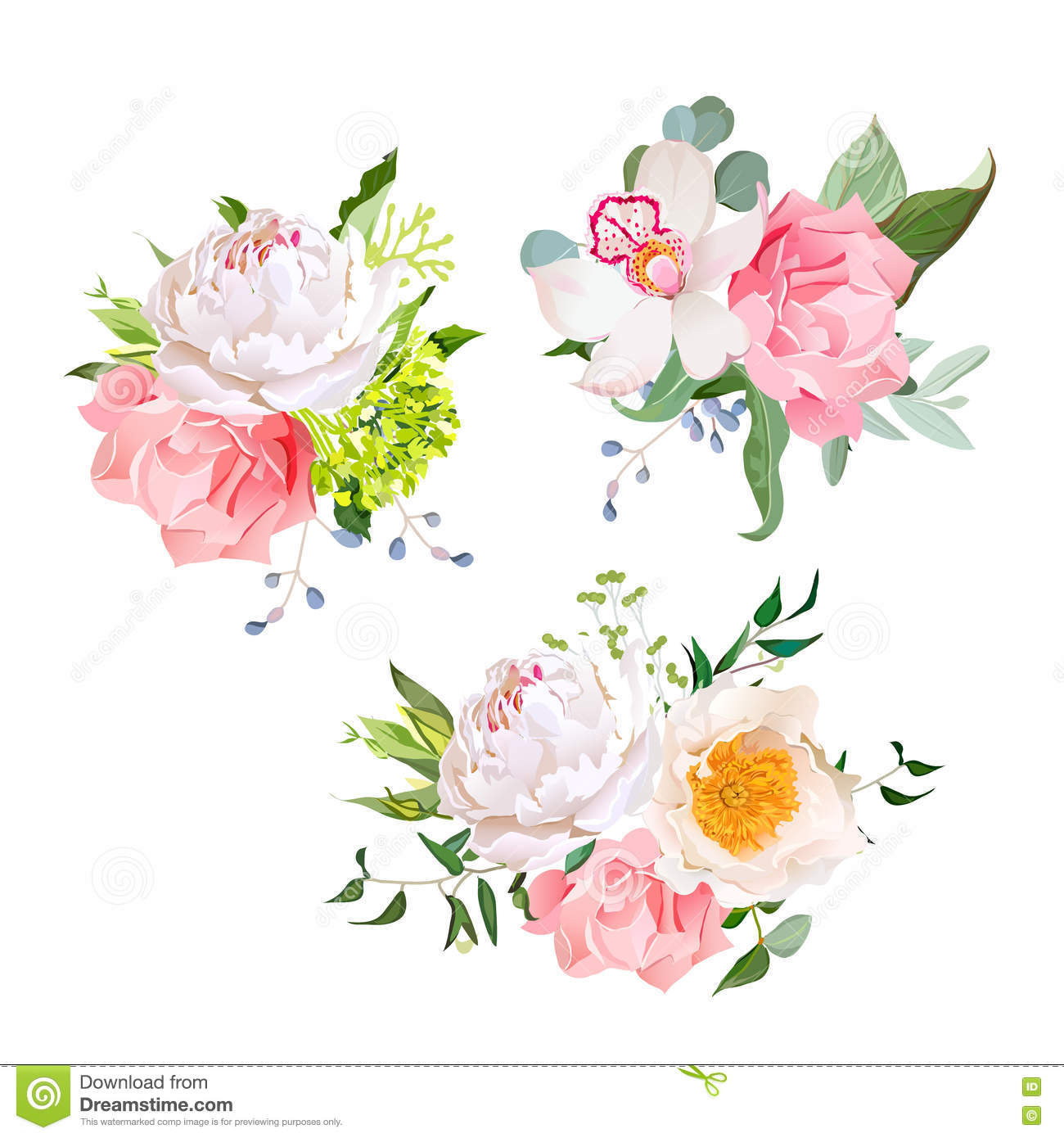 Set Of Cute Flower Bouquets Vector Illustration ...
