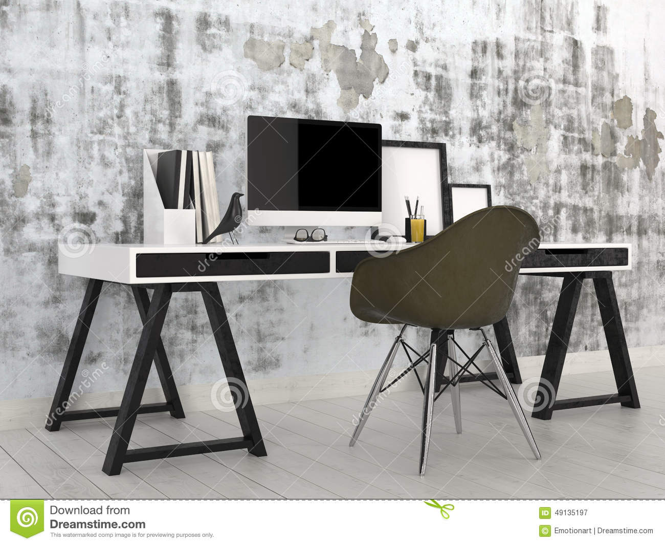Stylish Modern Black And White Office Interior Stock