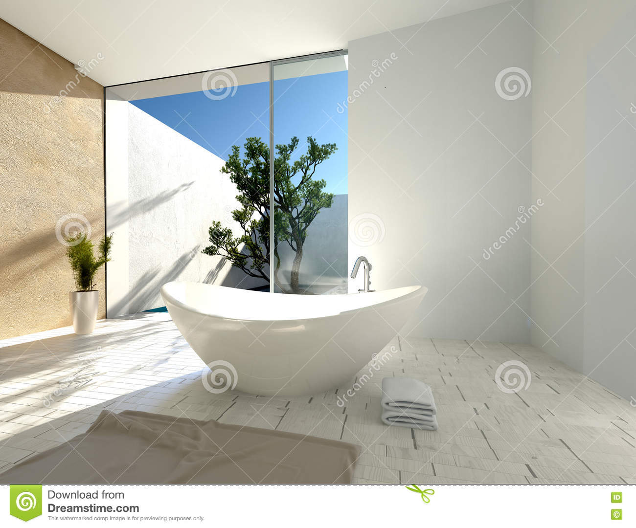 stylish modern boat shaped bathtub stock illustration illustrationstylish modern boat shaped bathtub sunny tropical bathroom white beige walls parquet floor glass door leading to 55142517 jpg