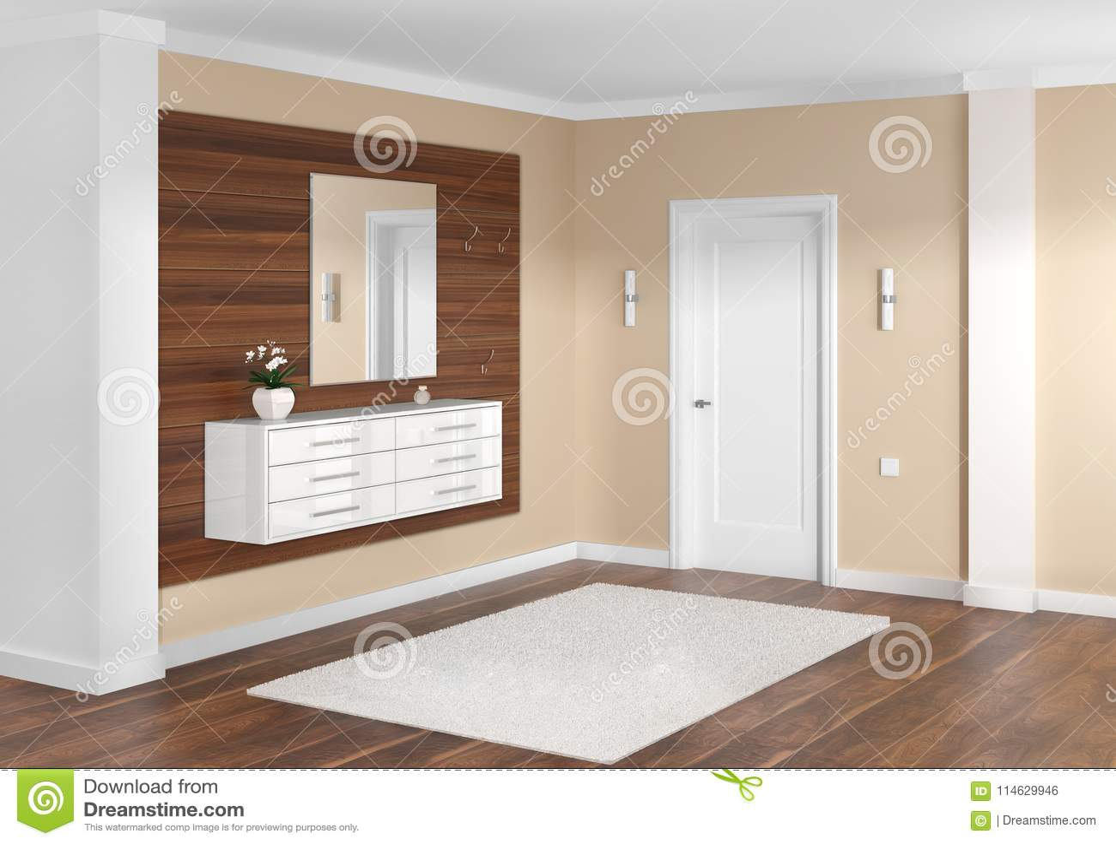 Stylish Modern Interior Of The Entrance Hall Stock Illustration