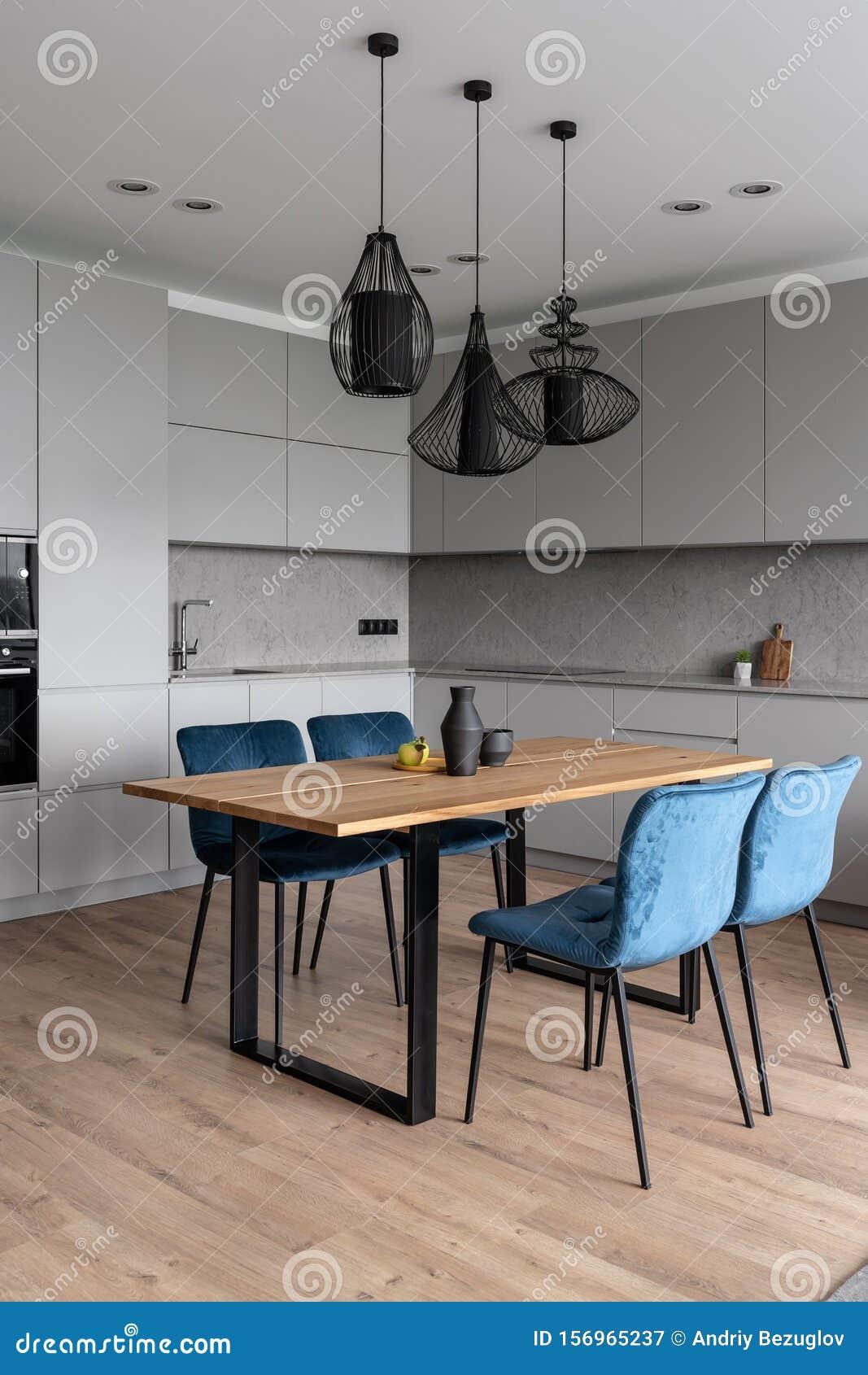 Stylish Modern Interior With Gray Kitchen Zone Stock Image Image Of Apple Decor 156965237