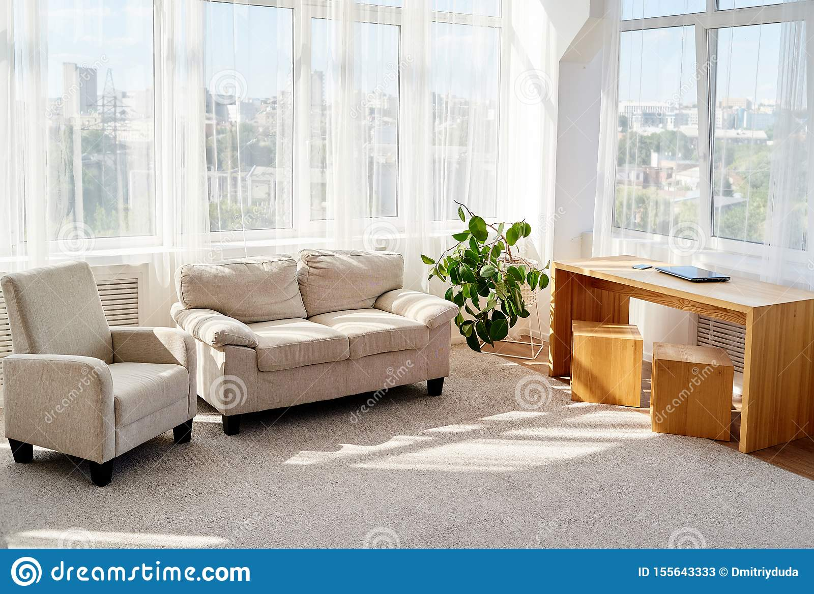 Stylish Modern Living Room With Comfortable Beige Sofa And