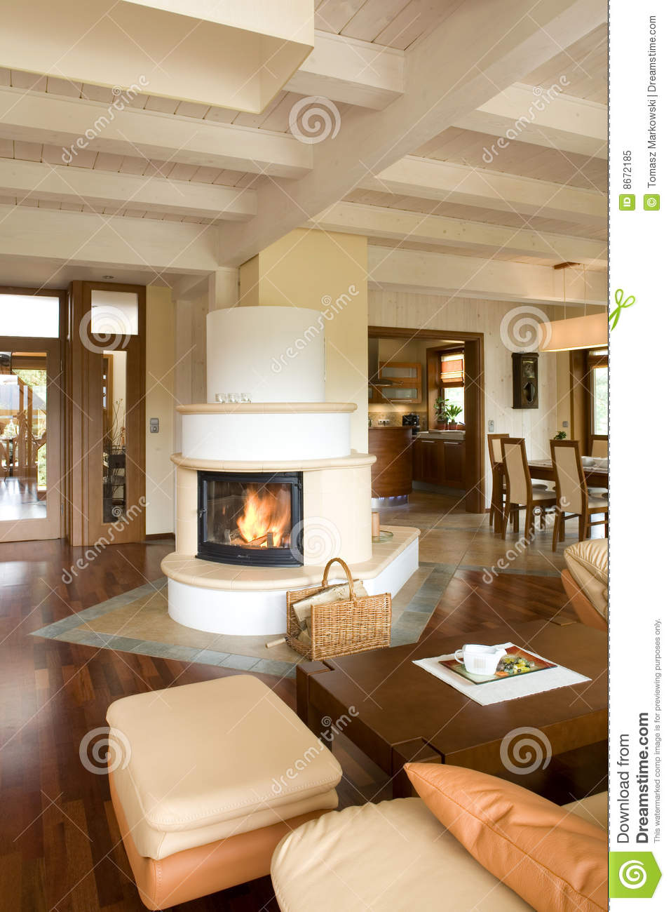 Stylish Modern Living Room With Fireplace Royalty Free