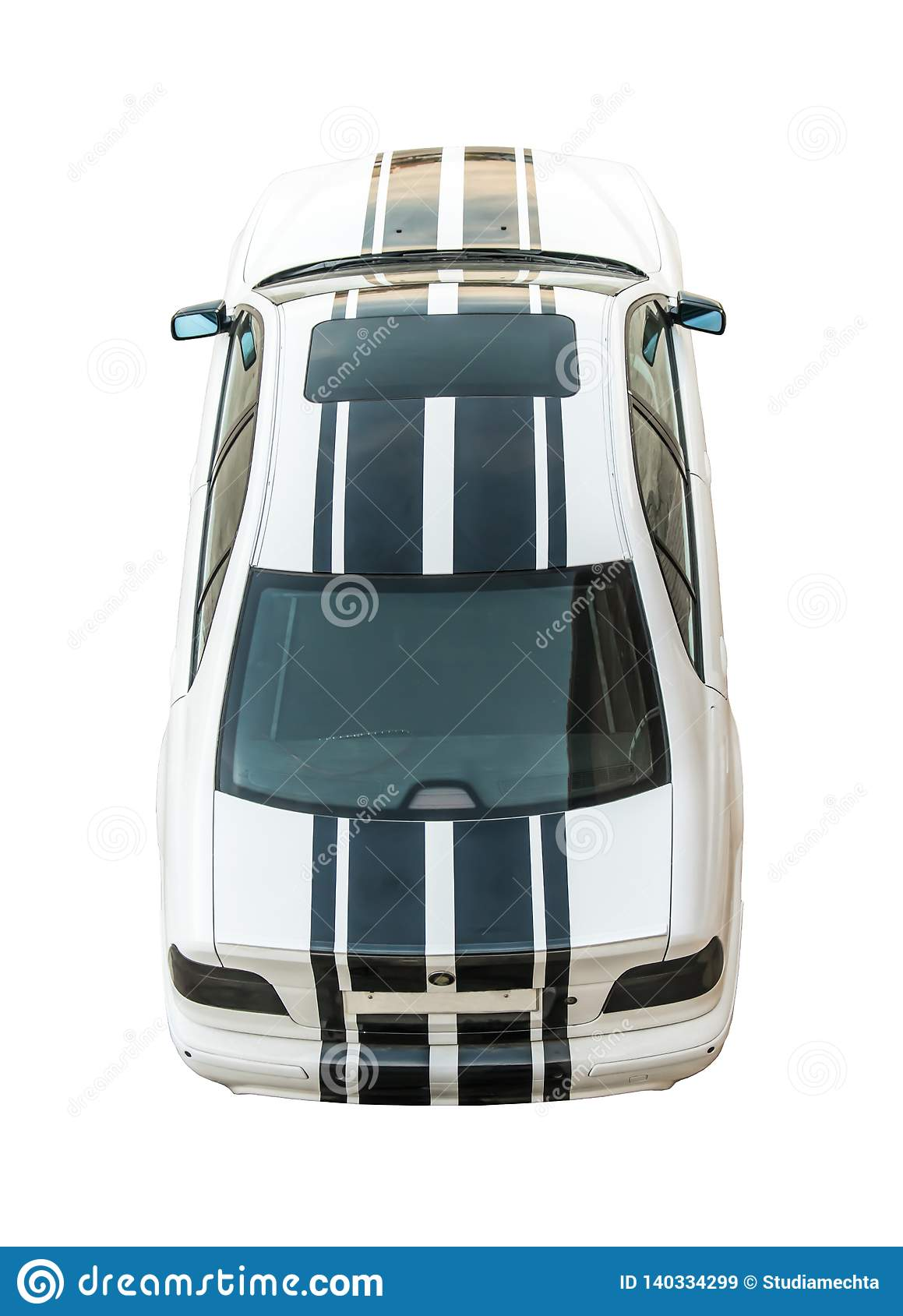 Stylish, modern, sporty white car with black stripes, cut out, isolated on white background