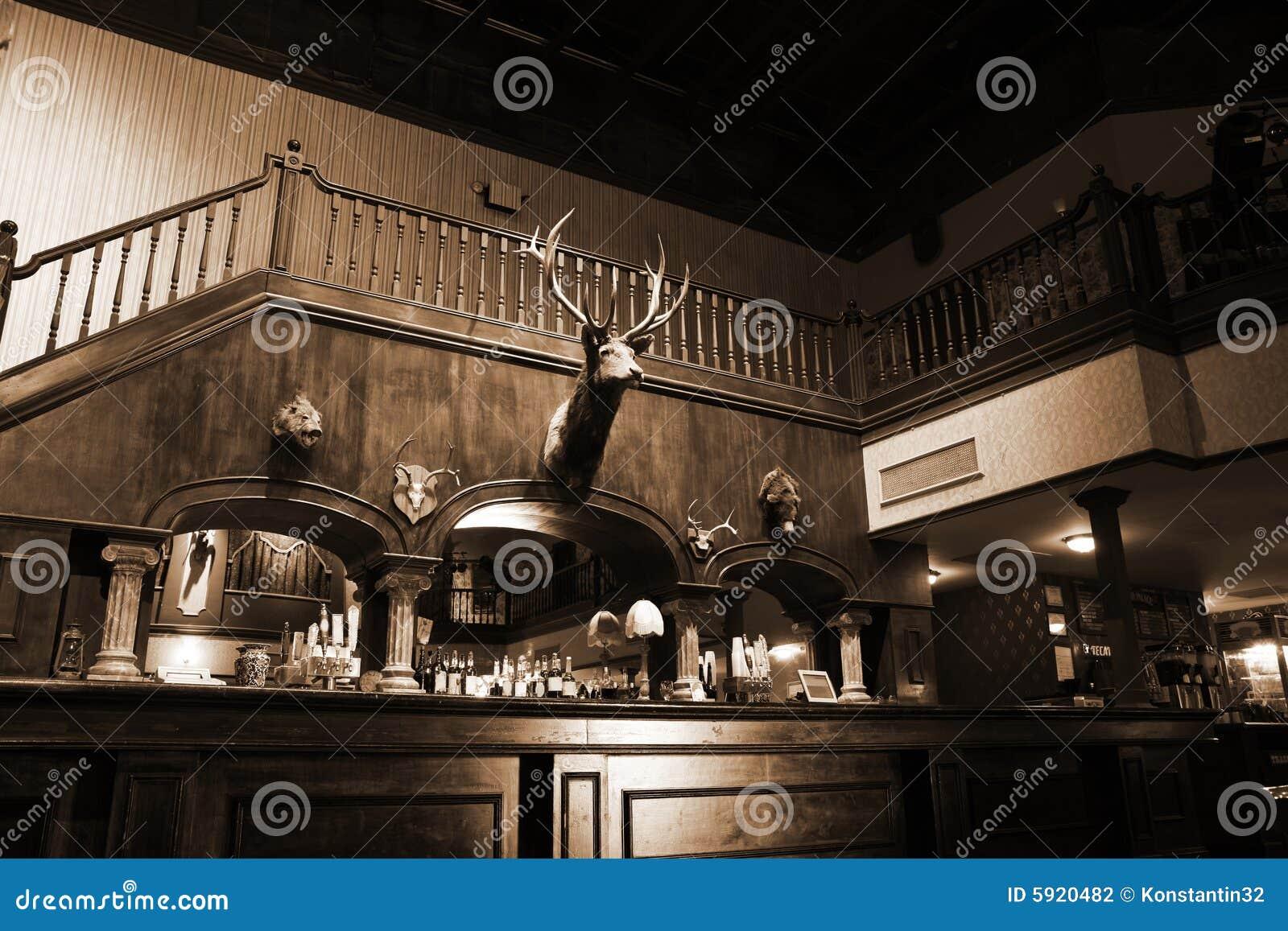 Stylish Night Bar With Retro Decor In Sepia Stock Photo - Image of ...