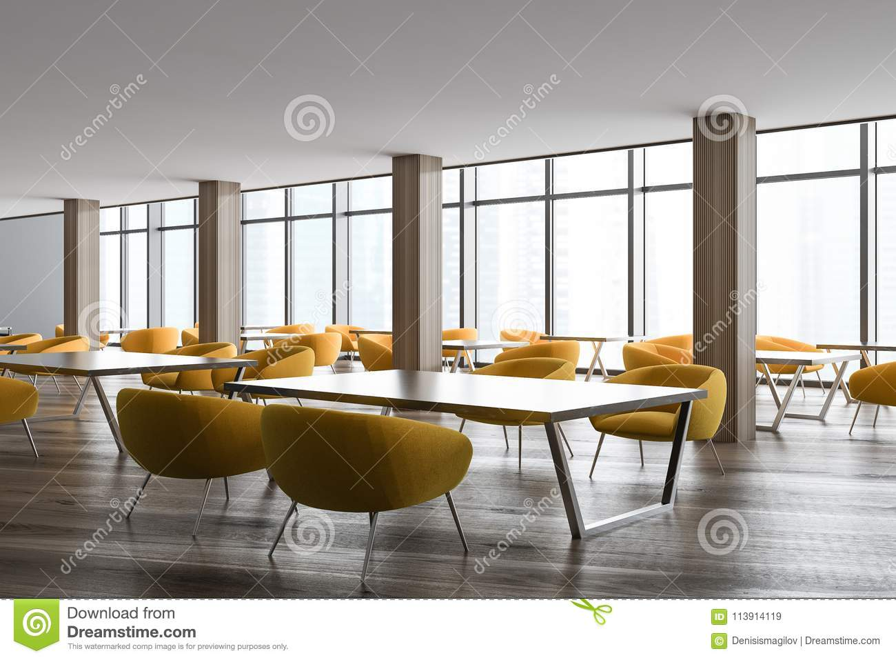 Modern Office Staff Room Or Classroom Corner With Dark Gray Walls, Loft  Windows, Wooden Floor, Square Desks And Yellow Chairs. 3d Rendering Mock Up