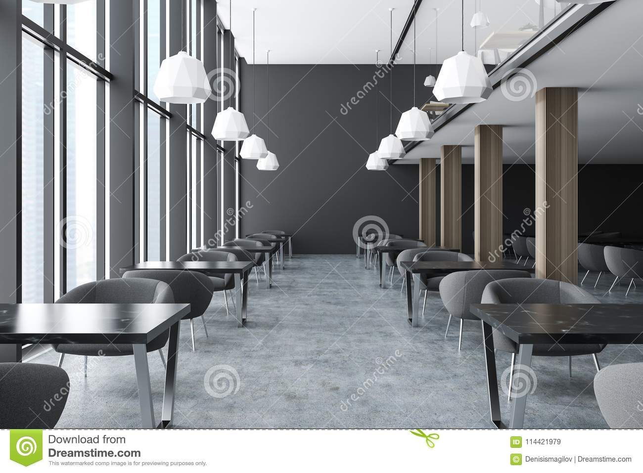 Modern Office Staff Room Or Classroom With Dark Gray Walls, Loft Windows,  Concrete Floor, Marble Desks And Black Chairs. 3d Rendering Mock Up