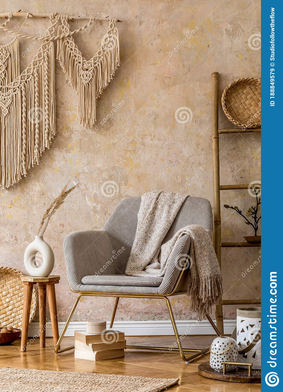 Stylish Oriental Living Room With Design Armchair Beautiful Macrame Wooden Ladder Plant Decoration Carpet Coffee Table Book Stock Image Image Of Modern Home 188849579