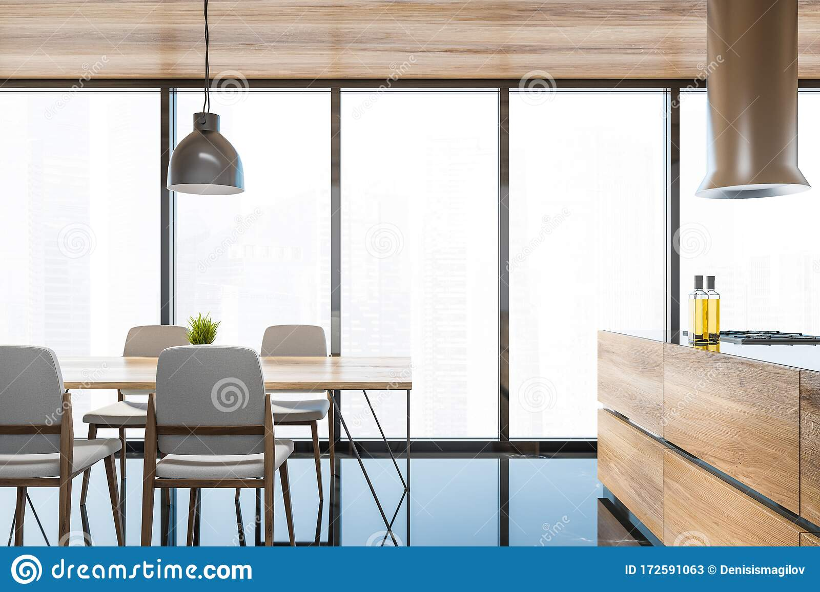 Stylish Panoramic Kitchen With Table And Island Stock Illustration Illustration Of Chair Oven 172591063