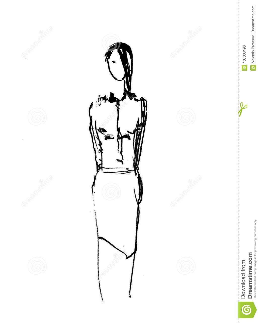 Woman Painting Fashion Sketch People Stock Illustration