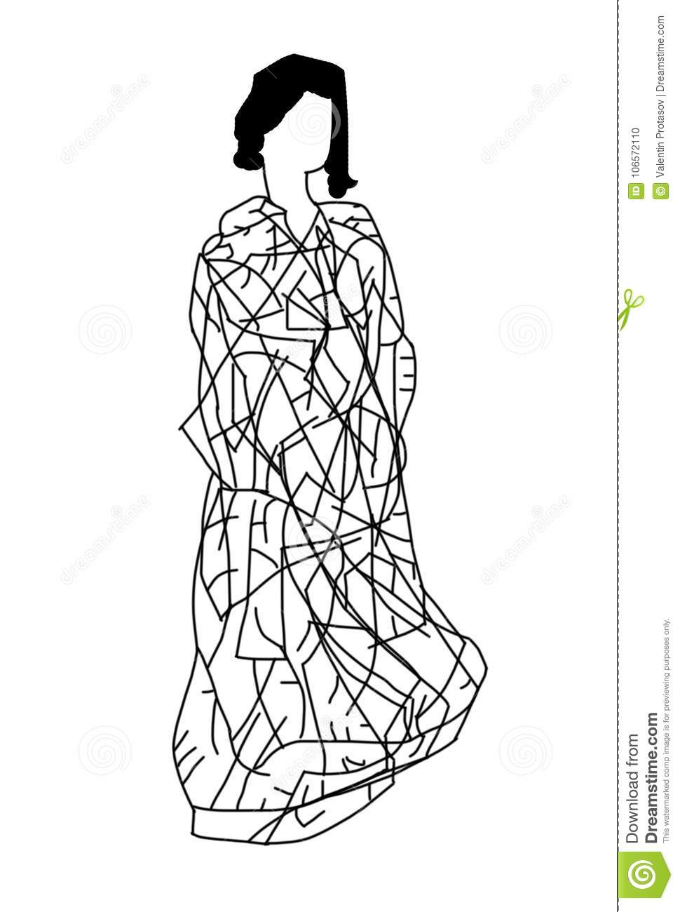 Woman Painting Fashion Sketch People Stock Illustration Illustration Of Painted Innocence 106572110