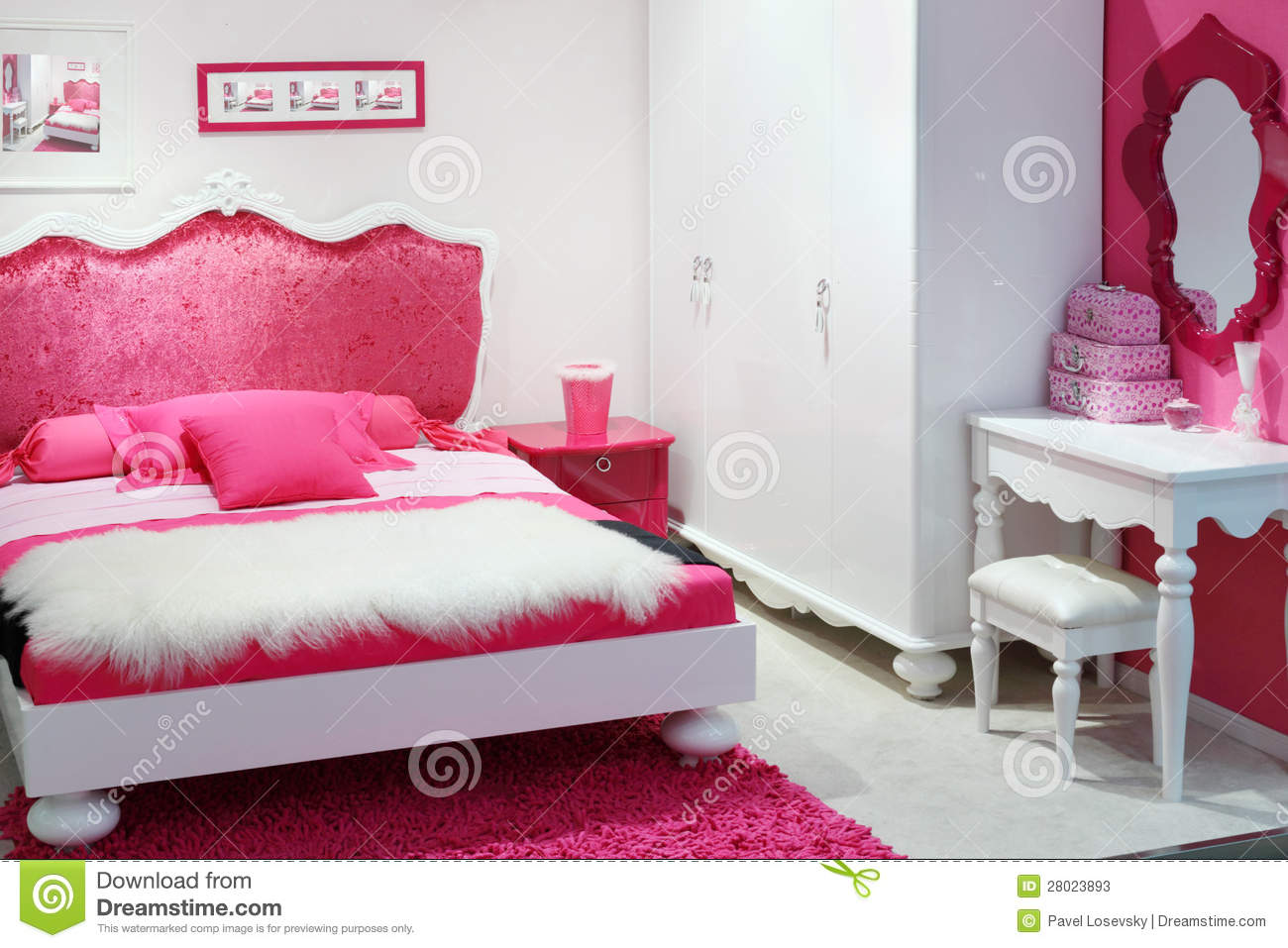 Stylish pink bedroom stock image image of design for Sofas para habitaciones juveniles