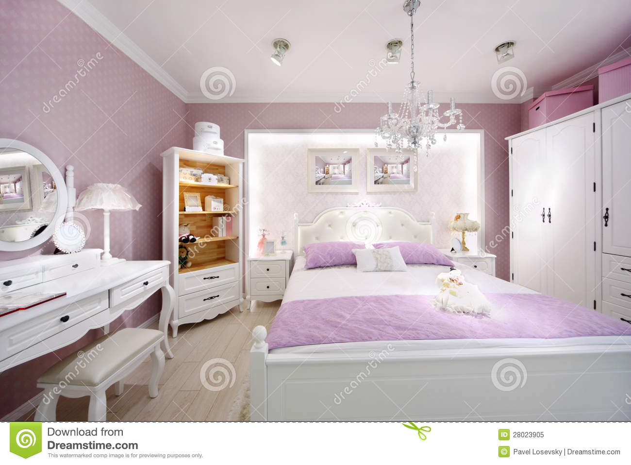 Stylish pink bedroom for woman royalty free stock photo - Femmes de chambre synonyme ...