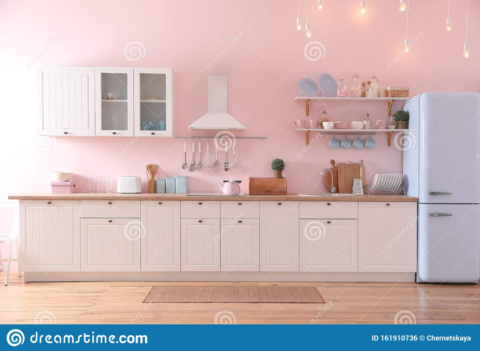 Stylish Pink Kitchen Interior With Furniture And Fridge Stock Photo Image Of Idea Clean 161910736