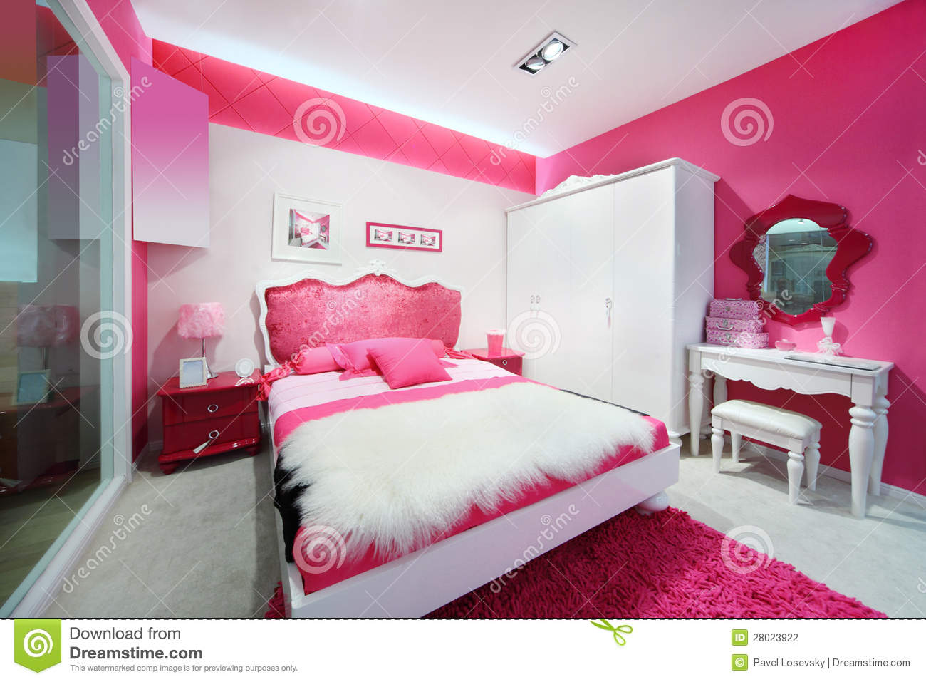 Stylish pink white beautiful bedroom stock photography   image ...