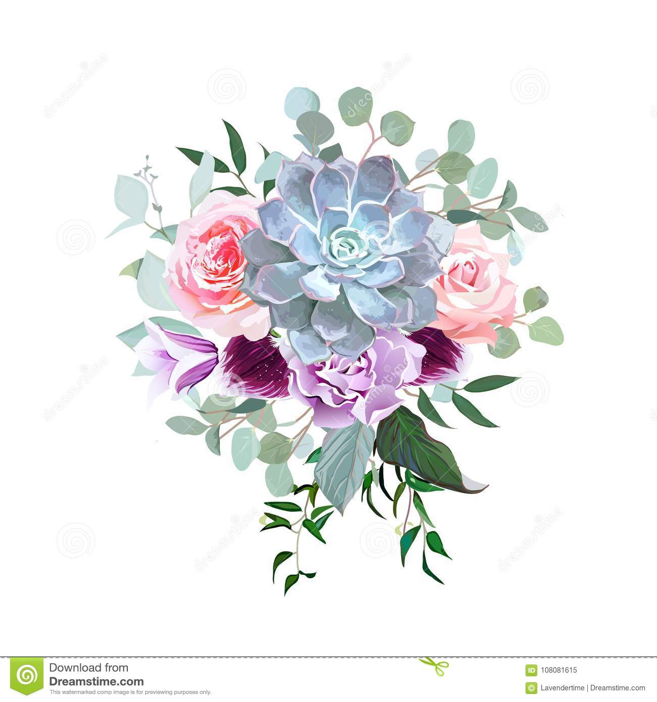 Stylish plum colored and pink flowers vector design bouquet stock stylish plum colored and pink flowers vector design bouquet izmirmasajfo