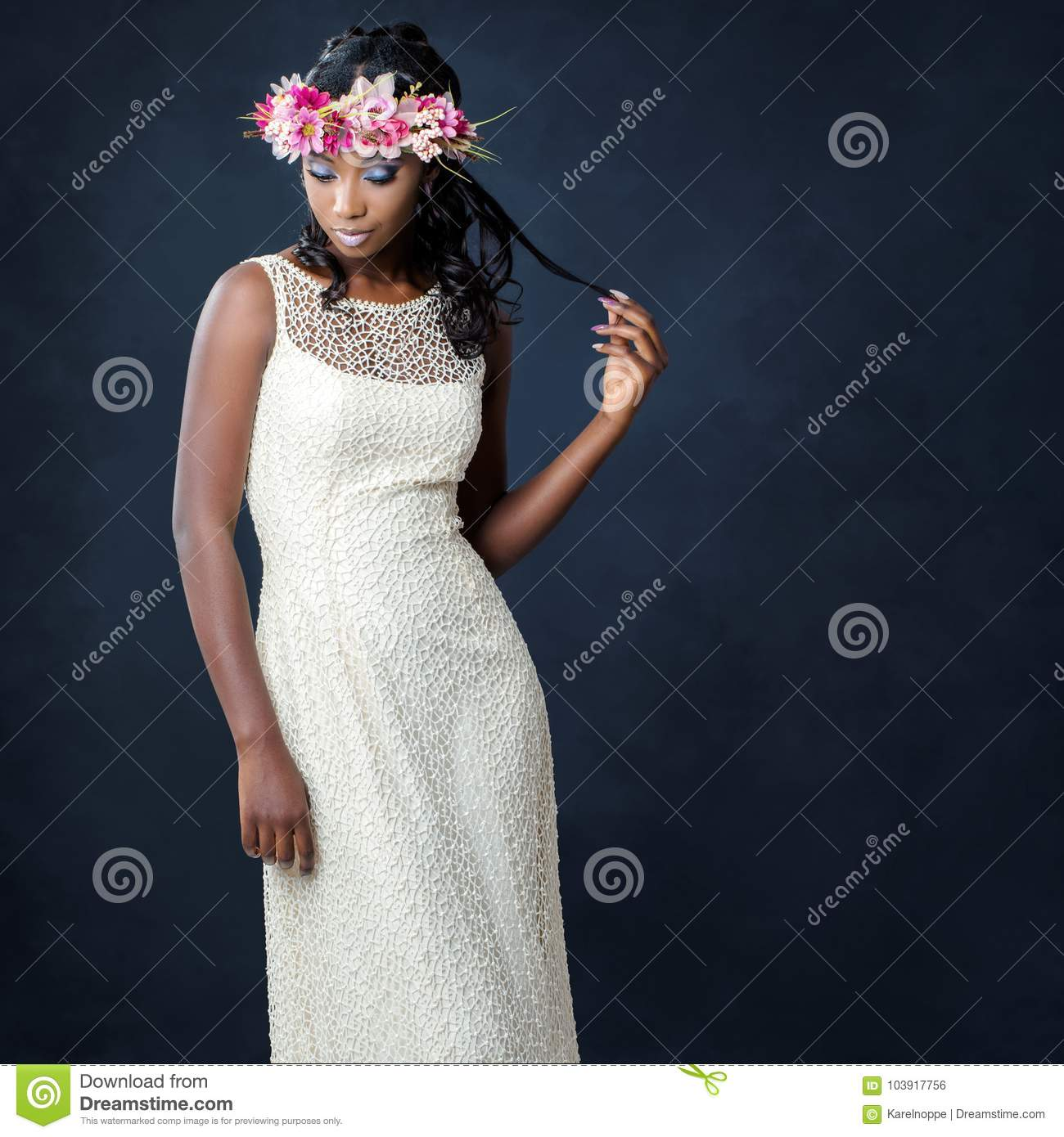 Stylish portrait of african bride with flower crown stock photo download comp izmirmasajfo