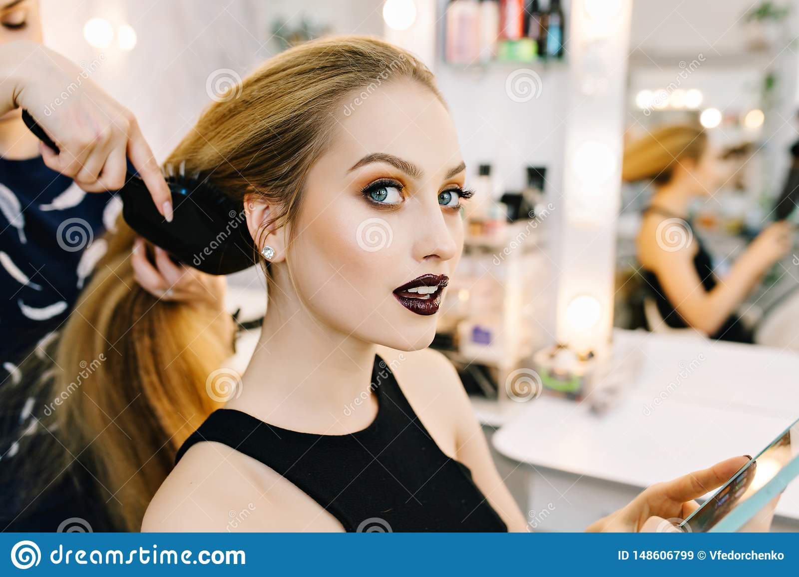 Stylish Portrait Of Attractive Young Woman In Beauty Salon Preparing To Party Making Hairstyle Makeup Stylist Stock Image Image Of Hairdressing Hairdress 148606799