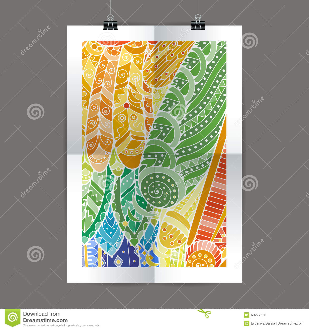 Zen poster design - Stylish Presentation Of Wall Poster Magazine Cover Design Paper Print Template Folder Zentangle