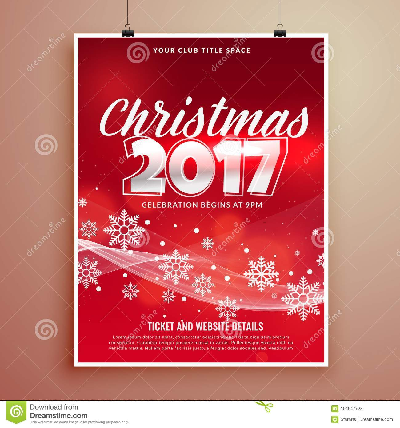 Stylish Red Christmas Party Event Invitation Card Template Desig
